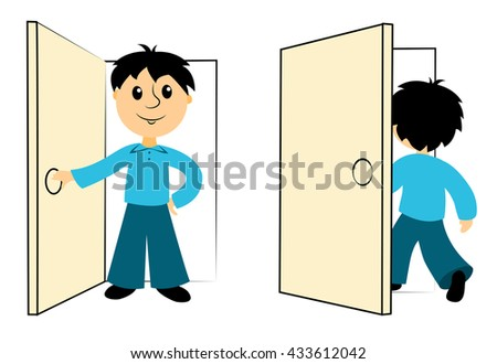 The boy enters a door. Clip art for business. Isolated on white. Vector. - stock vector