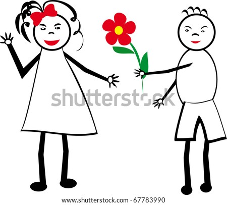 The boy gives flowers to the girl. A children's picture. Illustration. - stock vector