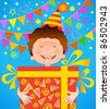 the boy holds in his hands the gift to birthday - stock vector