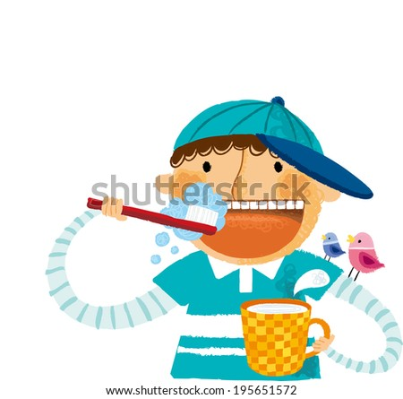 The boy is brushing his teeth  - stock vector