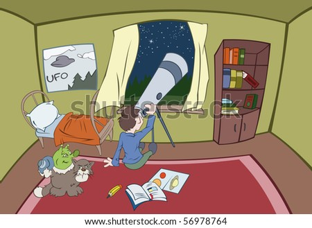 The boy is looking in a telescope while the alien is photographing boy's room - stock vector