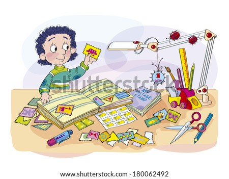 The boy - the collector of marks (postage-stamp). The boy sits at a table, displays a collection of the marks (postage-stamp). - stock vector