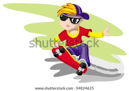 The boy, will be rolled on a road - stock vector