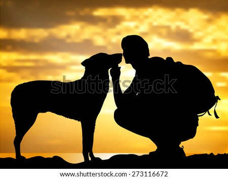 The boy with a dog against to sunset.vector illustration. - stock vector