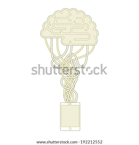 The brain is connected to the network. Concept of artificial intelligence - stock vector