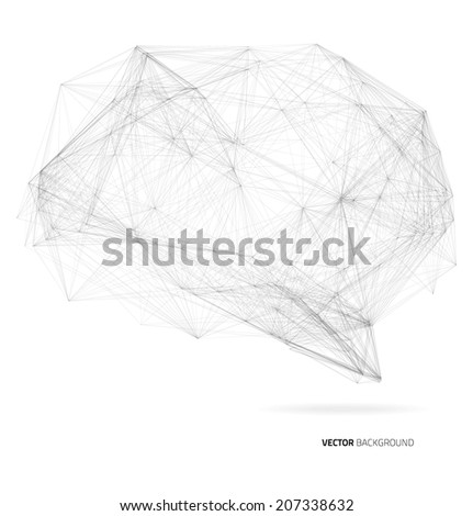The brain of a plurality of black lines - stock vector