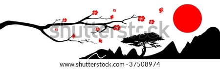 The branch of oriental cherry, mountains and red sun on white background - stock vector