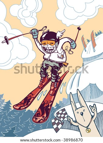 The brave free-rider is in the tough mountains. The newschool skier is sliding down and jumping from the snow cliffs. He is taking part in a free-ride contest!