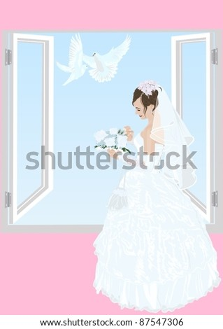 The bride near an open window in her wedding dress with a bouquet of flowers and two white doves flying - stock vector