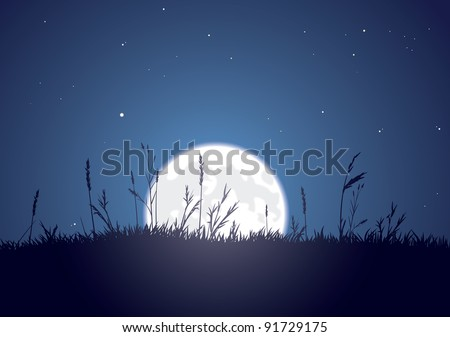 The bright moon rises behind a grassy plain. CMYK color. Layer separated. EPS version 10. - stock vector