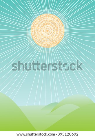 The bright sun that shines on the hills - stock vector