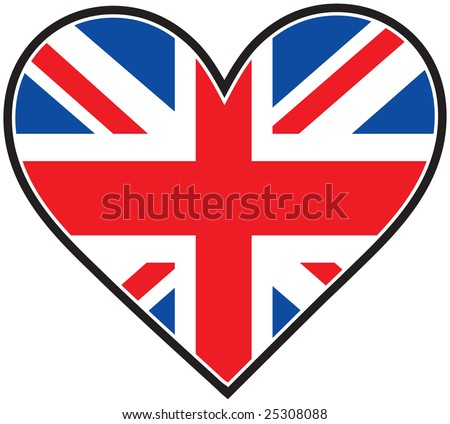 The British flag in the shape of a heart