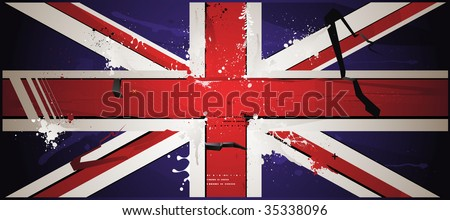 The British flag is drawn with paint, grunge