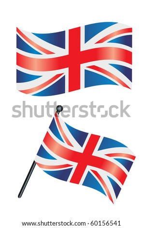 The british flag or union jack waving in the wind - stock vector