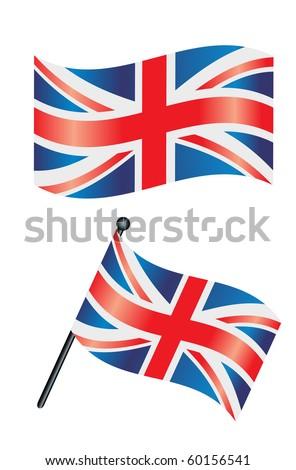 British Flag Union Jack Waving Wind Vector de stock (libre de ...
