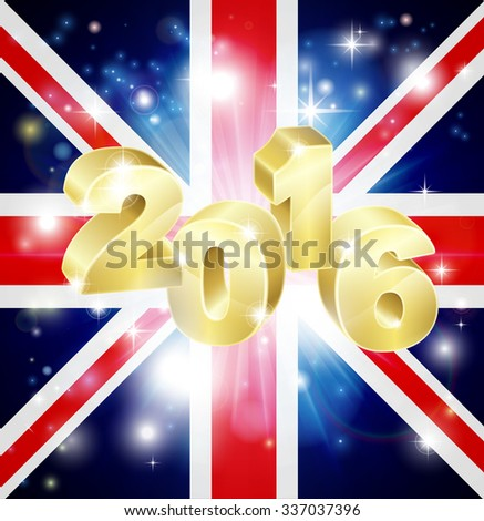 The British Union Jack flag of the UK with 2016 coming out of it with fireworks. Concept for New Year or anything exciting happening in the United Kingdom in the year 2016. - stock vector