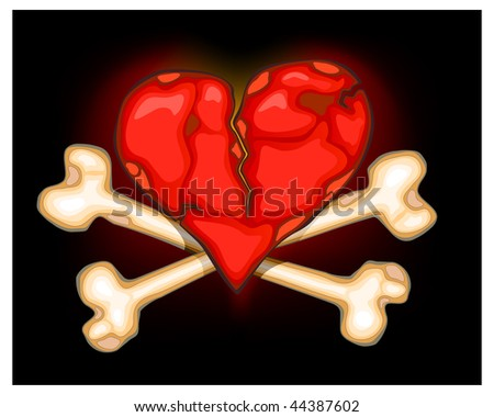 The broken heart against bones, terrible ominous symbol on black background - stock vector