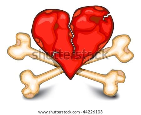 The broken heart against bones, terrible ominous symbol on white - stock vector