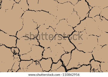 The brown earth with cracks texture. Vector background. - stock vector