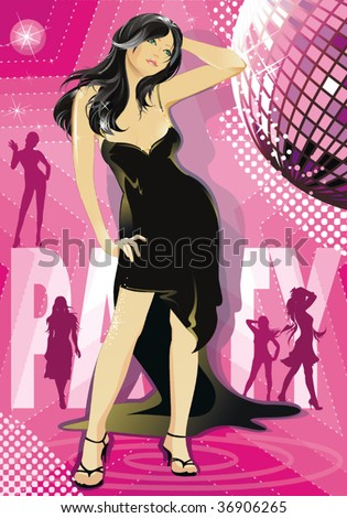 The Brunette beautiful girl disco dancer. Silhouette of dancing girl. Party invitation template – Vector illustration. - stock vector