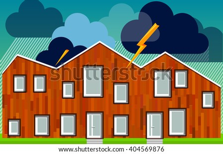 The building during a thunderstorm with the rain in a flat style - stock vector