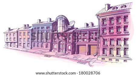 The buildings - old and new - are at the city street in a pastel shades. It's the hand-drown colored sketch on a white background. The layered vector EPS v10. - stock vector