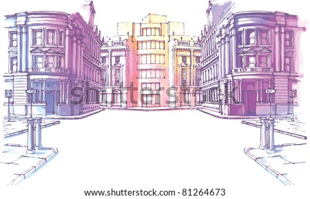 The buildings - old and new - are at the city street in a pastel shades. It's the hand-drown colored sketch. - stock vector