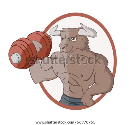 The bull is lifting a dumbbell - stock vector