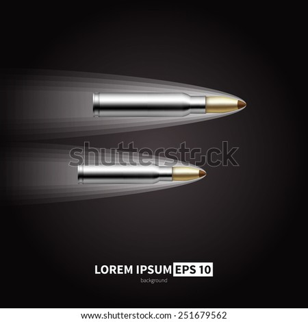 The bullet cutting through the air. Vector illustration of a shot. - stock vector