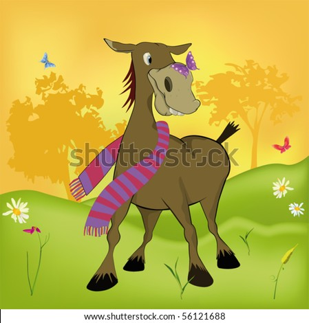 The burro and the butterfly - stock vector