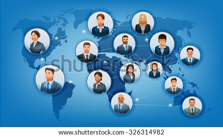 The business communications of the world.A global international business.Character design. Illustration for idea of business.Approach to communication for business. Graphic design and vector EPS 10. - stock vector