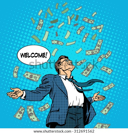 The business concept of successful businessman on money rolls in. Finance wealth profit. Retro style pop art - stock vector