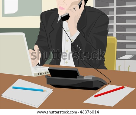 The businessman at office speaks on the phone - stock vector