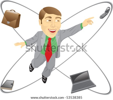 The businessman is in the center of his own business system. Isolated on white.