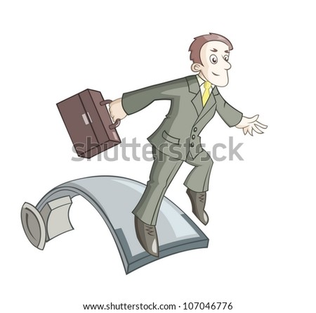 The businessman is jumping on springboard - stock vector