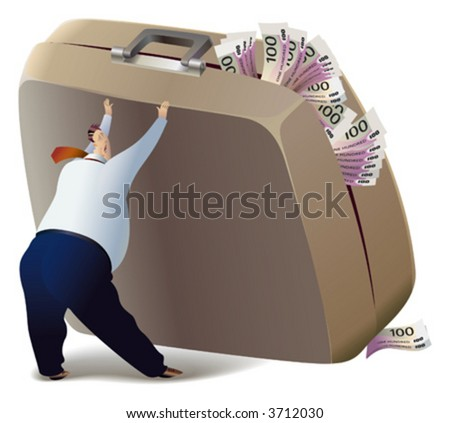 The businessman is trying to lift the suitcase, which is full of money. - stock vector