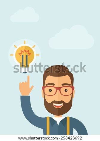 The businessman with a beard pointing to the bulb. Idea concept.  Vector flat design illustration. Vertical layout with a text space in a top. - stock vector