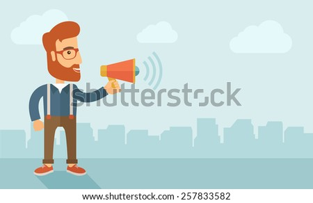 The businessman with a beard shouting in megaphone. Social media marketing concept.  Vector flat design illustration. Horizontal layout with a text space in a right. - stock vector