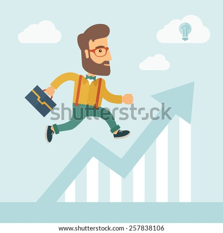 The businessmen with beard is running over growing chart. Perspective Idea concept. Vector flat design Illustration. - stock vector