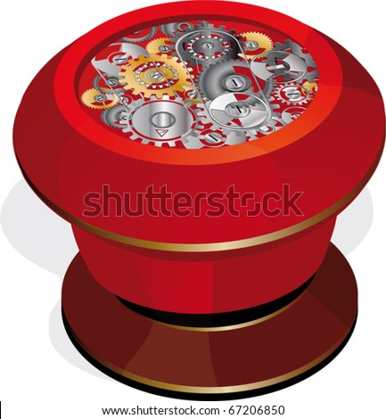 The button and gears - stock vector
