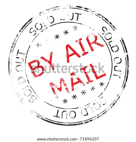 the by air mail grunge stamp vector illustration - stock vector
