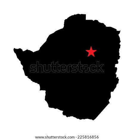 The Caital City Highlighted with a Star on the Shape of the Country of Zimbabwe