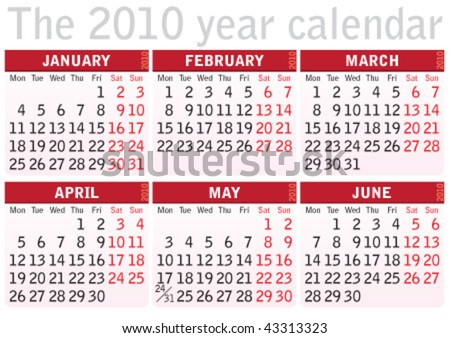 The 2010 calendar with 6 months