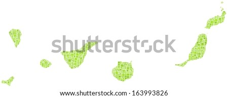 The Canary Islands in a mosaic of green squares. A number of 1363 little green squares are accurately inserted into the mosaic. White background.  - stock vector