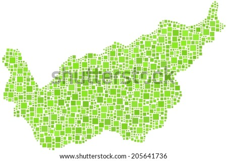 The Canton of Valais - Switzerland - in a mosaic og green squares