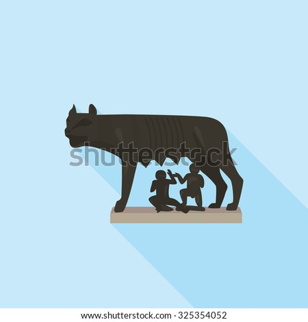 The Capitoline wolf in Rome. A simple icon in flat style with shadow. Colorful vector illustration. Architectural and tourist landmarks. - stock vector