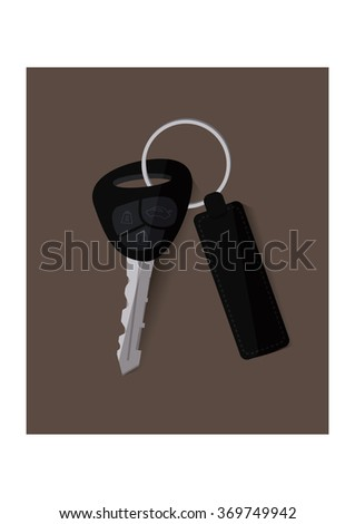 The car key on brown background.Flat design concept vector
