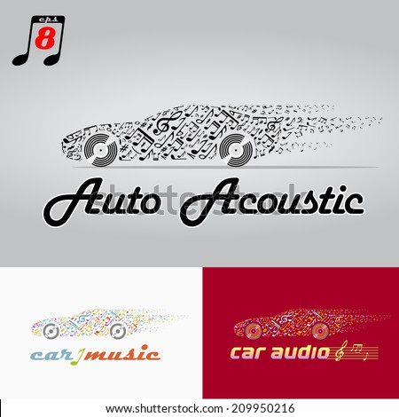 the car music , motor vehicle acoustic. eps8 - stock vector