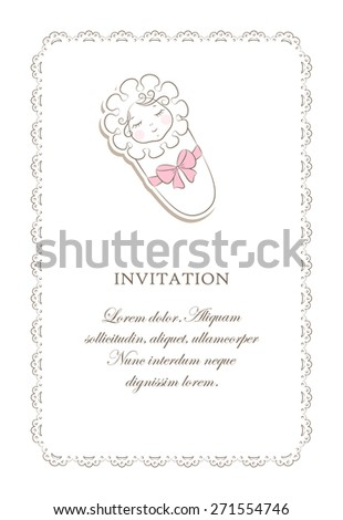 The card with a slipping new born girl on the lace. Vector background. - stock vector