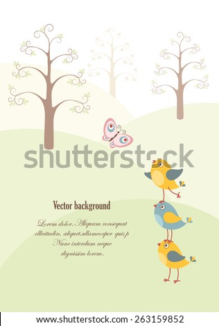 The card with three funny birds and a butterfly in the spring forest. Vector background.